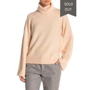 Free Press High Low Turtleneck Beige Sweater